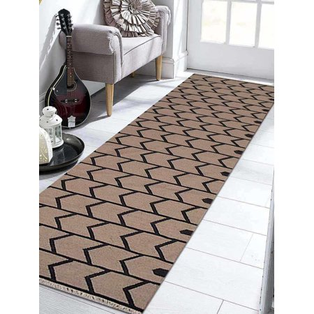 Rugsotic Carpets Hand Weave Kelim Woolen 8' x 10' Contemporary Area Rug Cream Charcoal D00109-Color:Cream Charcoal,Material:Kilim,Shape:Runner,Size:3' x