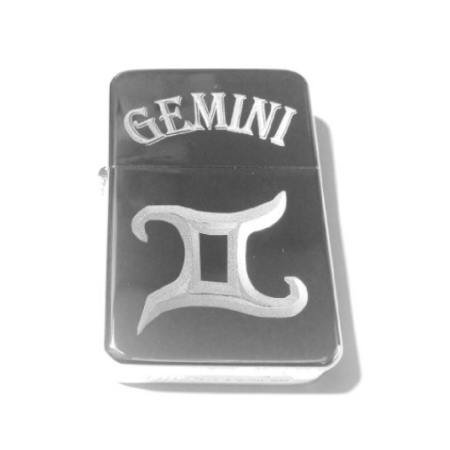 Vector KGM Thunderbird Custom Lighter - Gemini Celtic Horoscope Star Zodiac Sign Logo Silver High Polish Chrome -