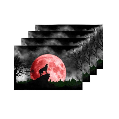 YUSDECOR Cool Wolf Howling at Red Moon Placemats Table Mats for Dining Room Kitchen Table Decoration 12x18 inch,Set of 4 - image 3 of 4