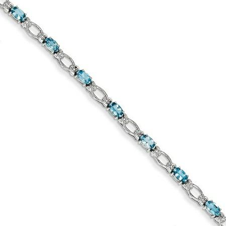 14K White Gold Diamond And Blue Topaz Bracelet  Carat Wt  0 1Ct  Gem Wt  3 53Ct