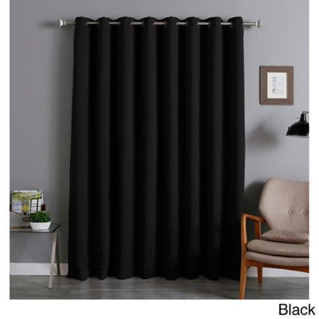 Aurora Home Extra Wide Thermal 96 Inch Blackout Curtain Panel Black