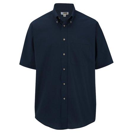 Men's Big And Tall Button Down Short Sleeve Poplin Shirt, NAVY, 3XLT