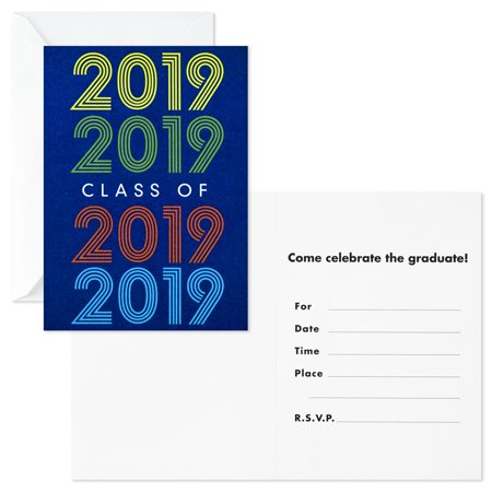 Hallmark Graduation Party Invitations, 20 Invites with Envelopes (Retro Blue, Class of 2019)