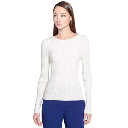 St. John Women's Wool Blend Ribbed Knit Pullover Sweater (Cream, (Ribbed Wool Blend)