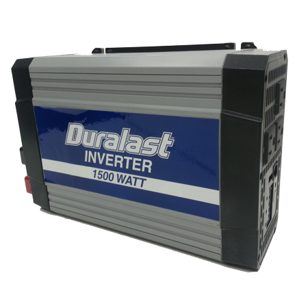 Duralast 1500W Power Inverter DC 12V to 110V Car AC w/Battery Cables & 2.1A USB -