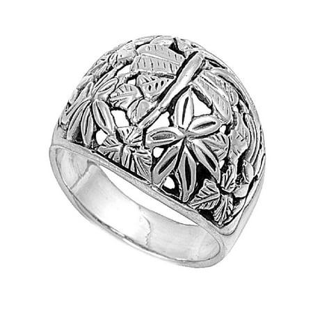 925 Sterling Silver Plumeria Flower Ring Size 5