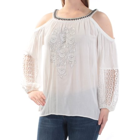 INC Womens Ivory Cold Shoulder Embroidered Lace Floral Pouf Jewel Neck Top  Size: XL