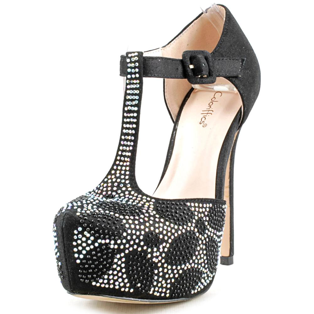 Coloriffics Kacey Women  Open Toe Synthetic Black Platform Heel