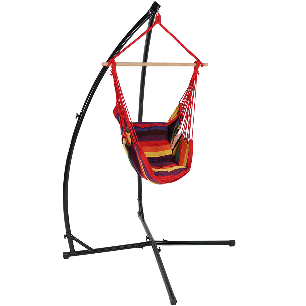 Sunnydaze Hanging Hammock Chair Swing and X-Stand Set, Oasis, for Indoor or Outdoor Use, Max Weight: 250 pounds, Includes 2 Seat Cushions