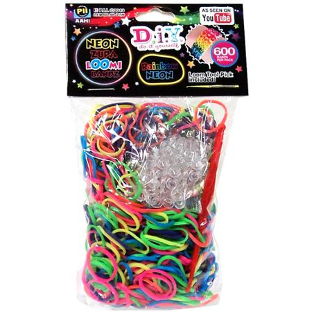 D.I.Y. Do it Yourself Bracelet Zupa Loomi Bandz 600 Neon Rainbow Rubber Bands with 'S' Clips - Rubberband Bracelet