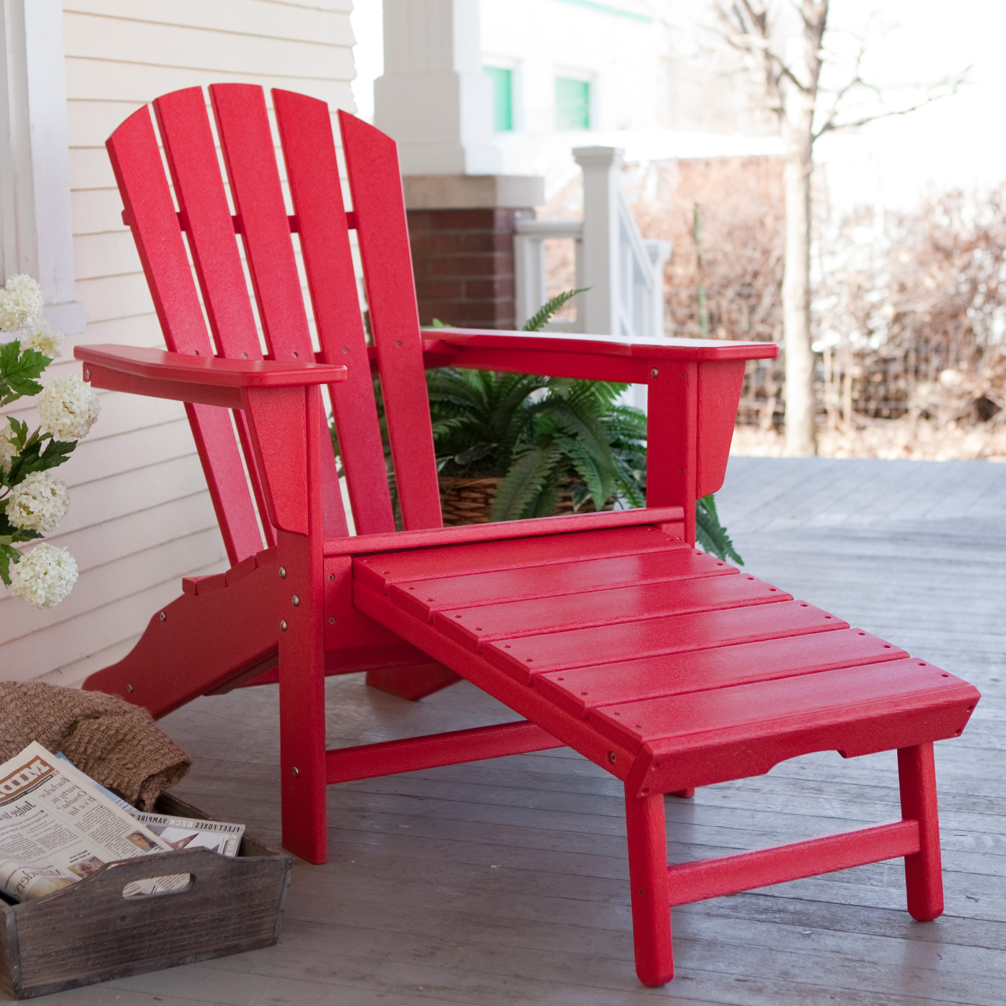Plastic Adirondack Chairs With Ottoman.Polywood Recycled Plastic Big Daddy Adirondack Chair With Pull Out Ottoman