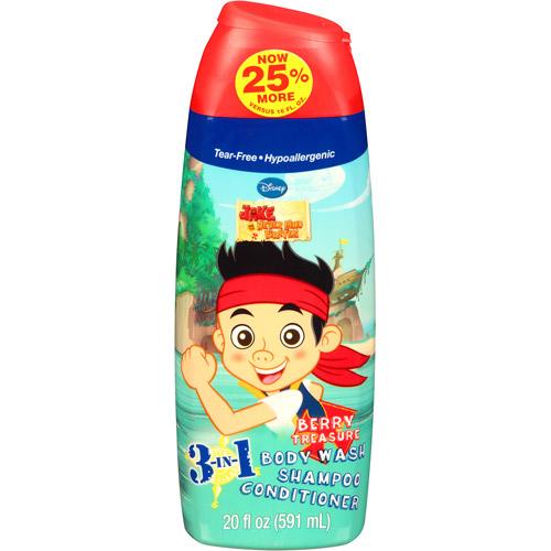 Disney Jake and the Never Land Pirates Berry Treasure 3 in 1 Body Wash, Shampoo & Conditioner, 20 fl oz