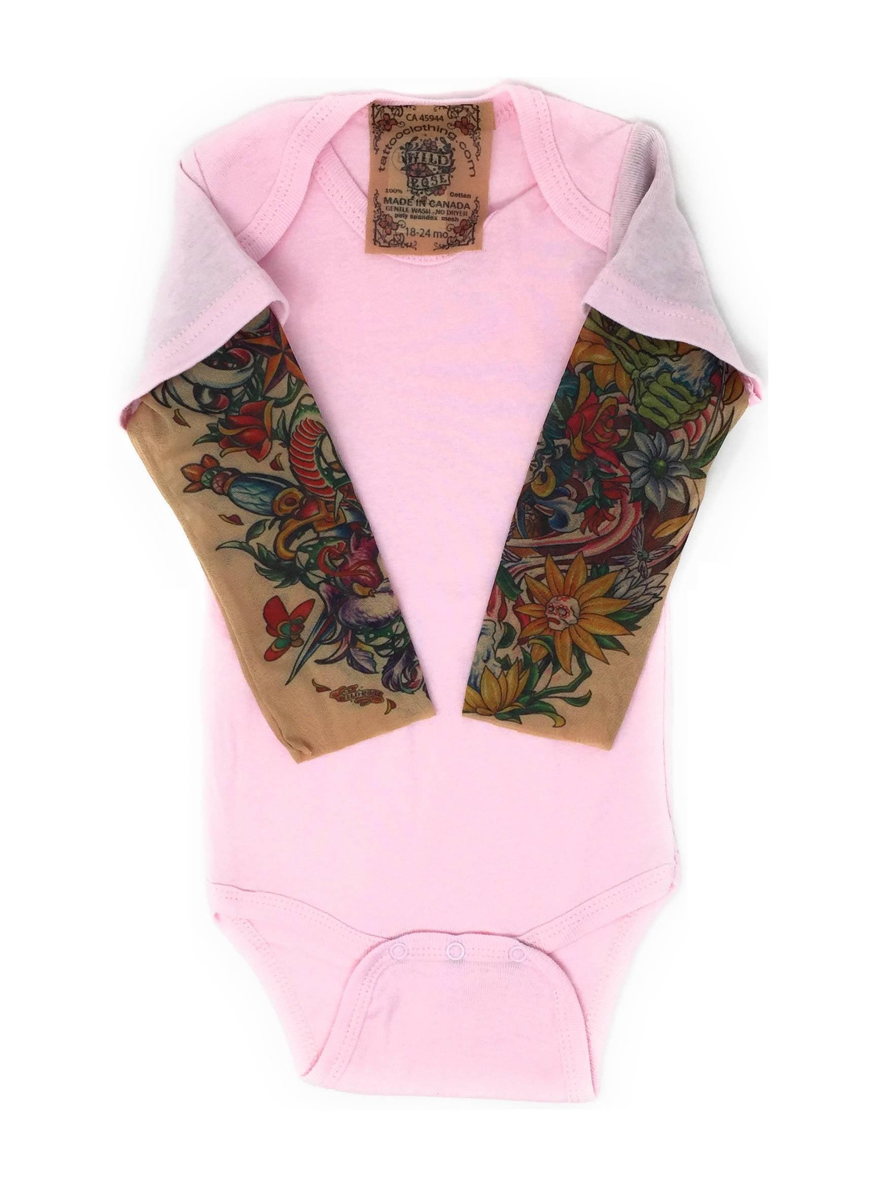 Sunflower Wild Rose Baby Girls Tattoo Sleeve Shirt Pink