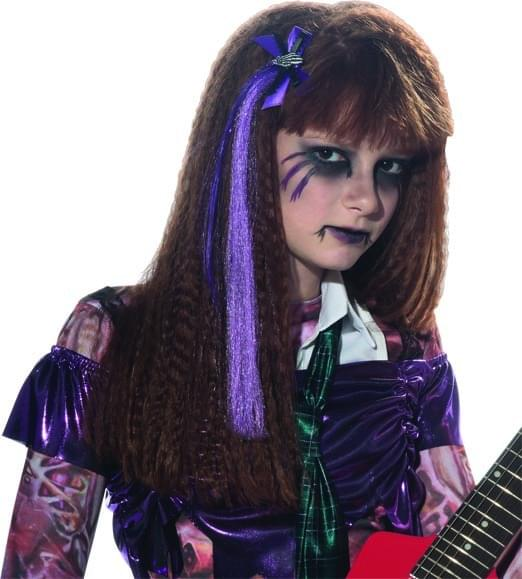 Purple Hair Extension & Skeleton Hand Bow Costume Accessory One Size