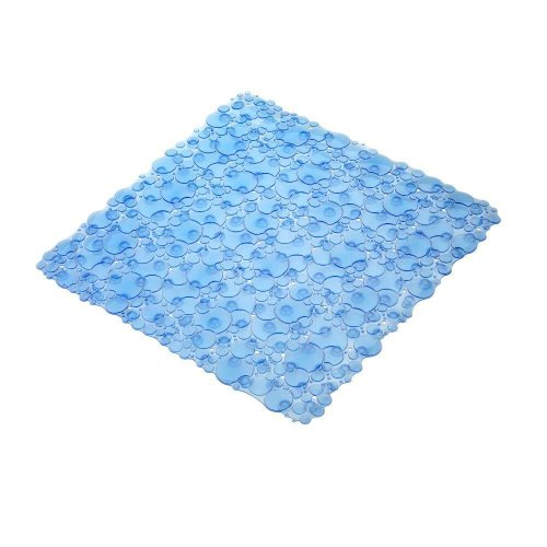 20-7/8 in. x 20-7/8 in. Bubbles Shower Mat in Blue