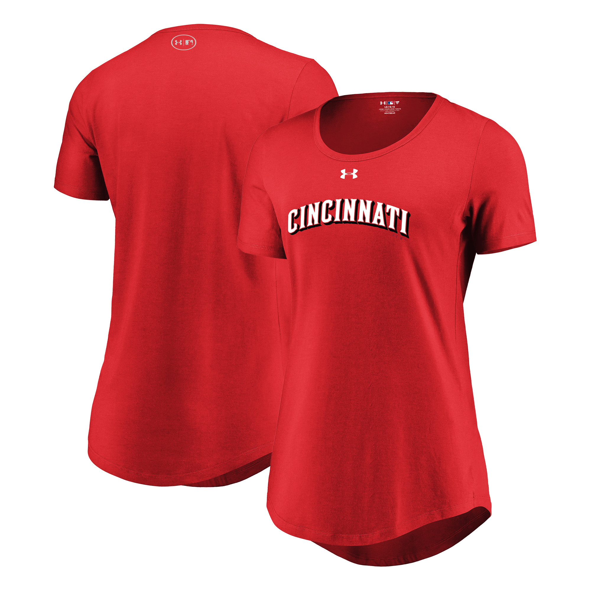 Cincinnati Reds Under Armour Women's Passion Road Team Font Scoop Performance Tri-Blend T-Shirt - Red