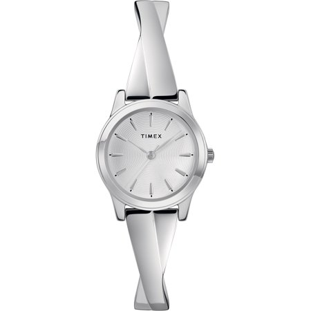 Timex Women's Stretch Bangle Crisscross 25mm Silver-Tone Expansion Band Watch