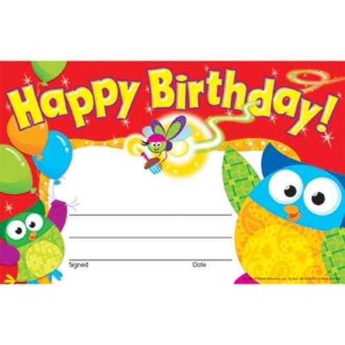 "Trend Happy Birthday Owl-stars Recognition Awards - 8.50"" X 5.50"" - Multicolor (tep-81044)"