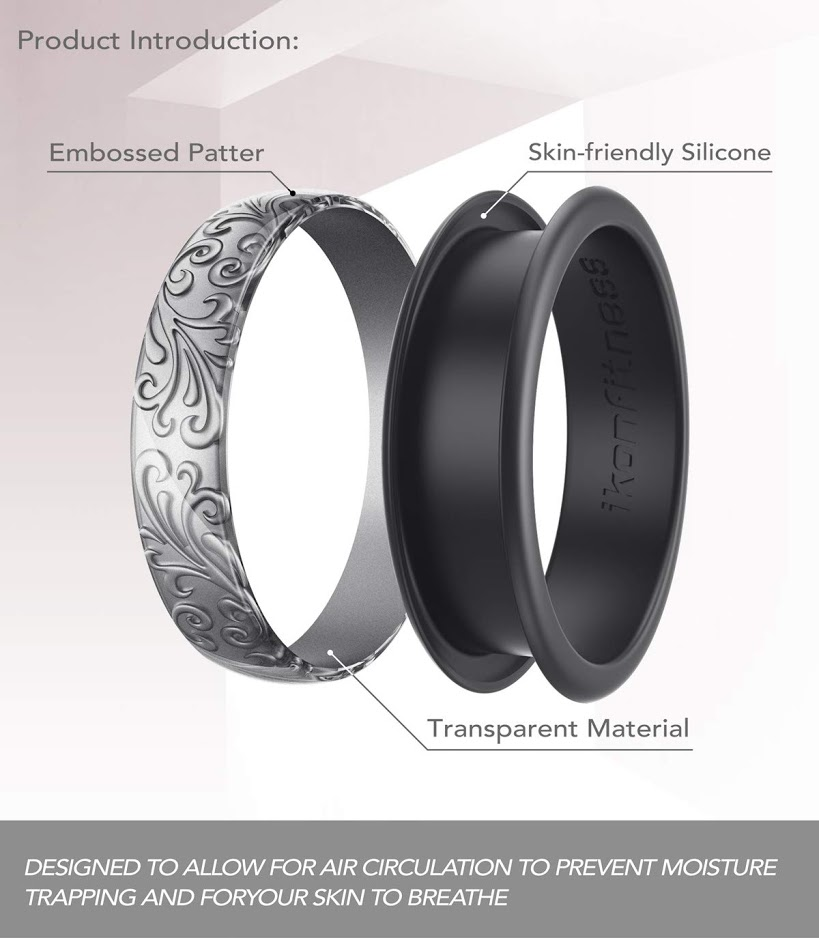 6.5 mm Wide 2 Pack in Metal Box Two Piece Rubber Wedding Ring with Unique 3D Sculptured Flower Pattern Ikonfitness Silicone Wedding Ring