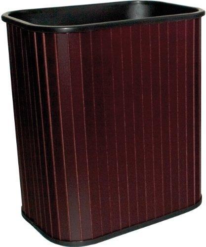 Carver rectangular hardwood wastebasket, 17 quart, mahoga...