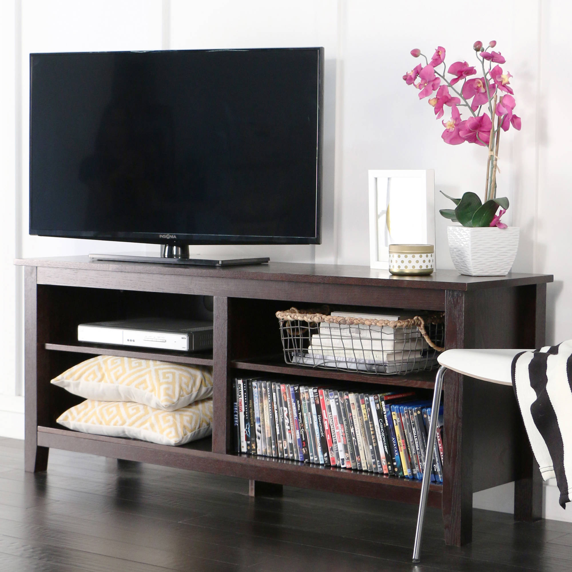 "Wood TV Media Storage Stand for TV's up to 60"", Multiple Finishes"