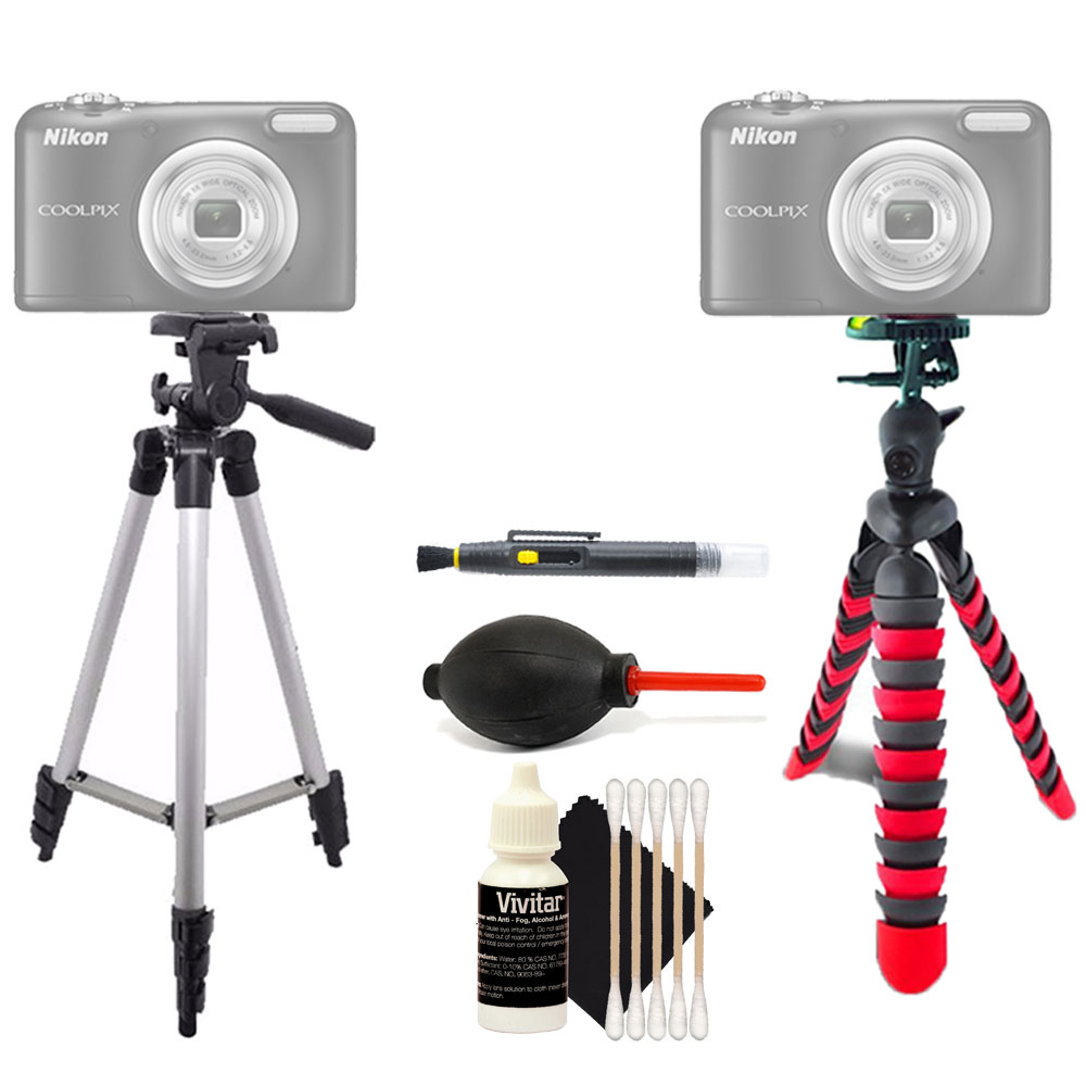 Tall Tripod and Flexible Tripod with Accessory Kit for Nikon Coolpix P610 S33 and All Digital Cameras