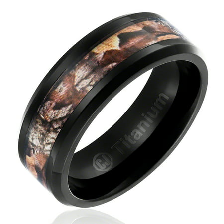 Mens Camo Wedding Band in Titanium 8MM Hunting Ring Black Plated with Forest Camouflage Inlay](Orange Camo Wedding Rings)