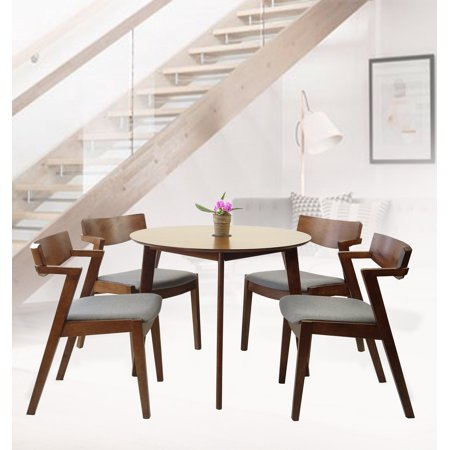 SK New Interiors Dining Kitchen Round Table and 4 Tracy Armhairs (Set of 5) Solid Wood Medium Brown Finish