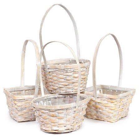 Asst White Bamboo Handle Basket Plastic Liner-Set of 4