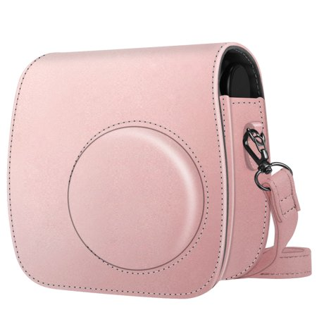 Cozy Camera Bag - For Polaroid PIC 300 / Fujifilm Instax Mini 7s Instant Film Camera Case, Fintie PU Leather Bag Cover w/ Strap, Rose Gold