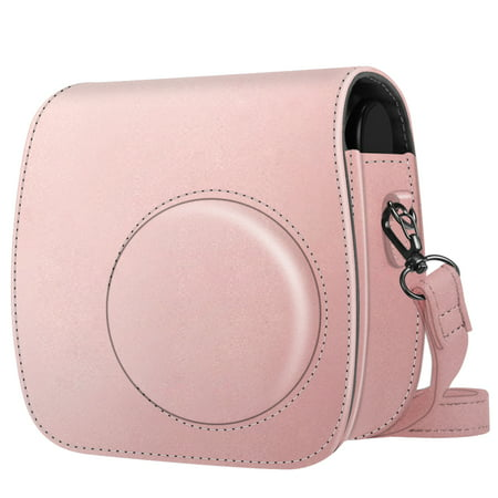 For Polaroid PIC 300 / Fujifilm Instax Mini 7s Instant Film Camera Case, Fintie PU Leather Bag Cover w/ Strap, Rose Gold