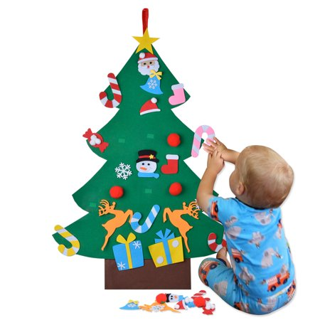 Felt Christmas Tree Set DIY Kids Educational Toy Door Wall Decoration with Detachable Ornaments for Toddlers & Gifts ()