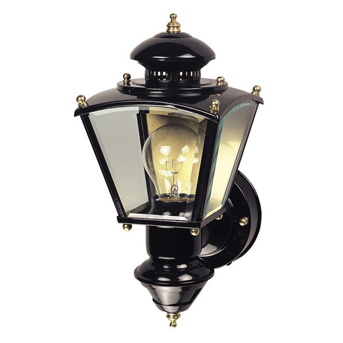 150-Degree Motion Activated 4-Sided Brass Charleston Coach Light in Black