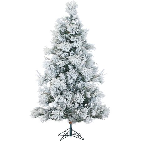 Fraser Hill Farm Unlit 6.5' Flocked Snowy Pine Artificial Christmas Tree