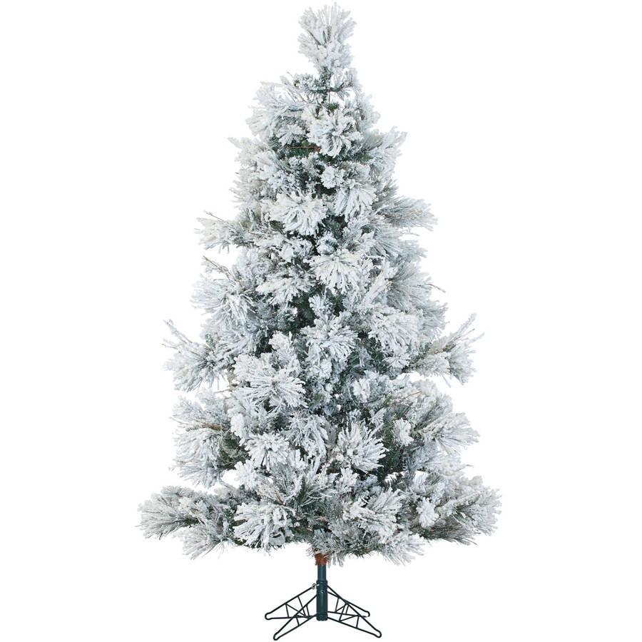 Fraser Hill Farm Unlit 6.5' Flocked Snowy Pine Artificial Christmas Tree