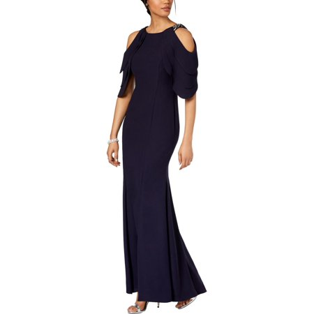 Betsy & Adam Women's Petite Embellished Cold-Shoulder Gown](Morticia Addams Dresses)