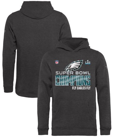 Philadelphia Eagles NFL Pro Line by Fanatics Branded Youth Super Bowl LII Champions Trophy Collection Locker Room Hoodie - Heather Charcoal