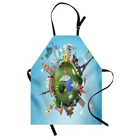 World Apron Small Planet with Historical Famous Landmarks Around the World Vacation Travel Tour, Unisex Kitchen Bib Apron with Adjustable Neck for Cooking Baking Gardening, Multicolor, by Ambesonne (Landmarks Around The World)