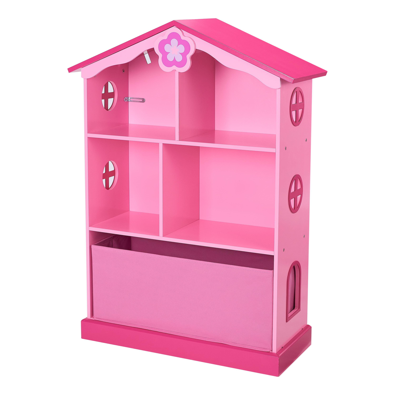 Senda Kids Bookshelf Dollhouse, 3-Tier with Storage Bin, Pink