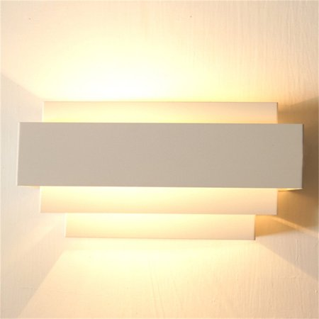 Contemporary Indoor Up & Down Wall Light Curved White Square Lighting Lamp - image 5 de 6
