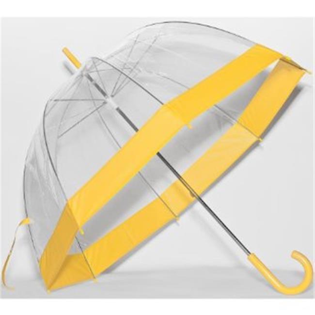 Elite Rain Umbrella Clear Classic Bubble Umbrella - Yellow Trim