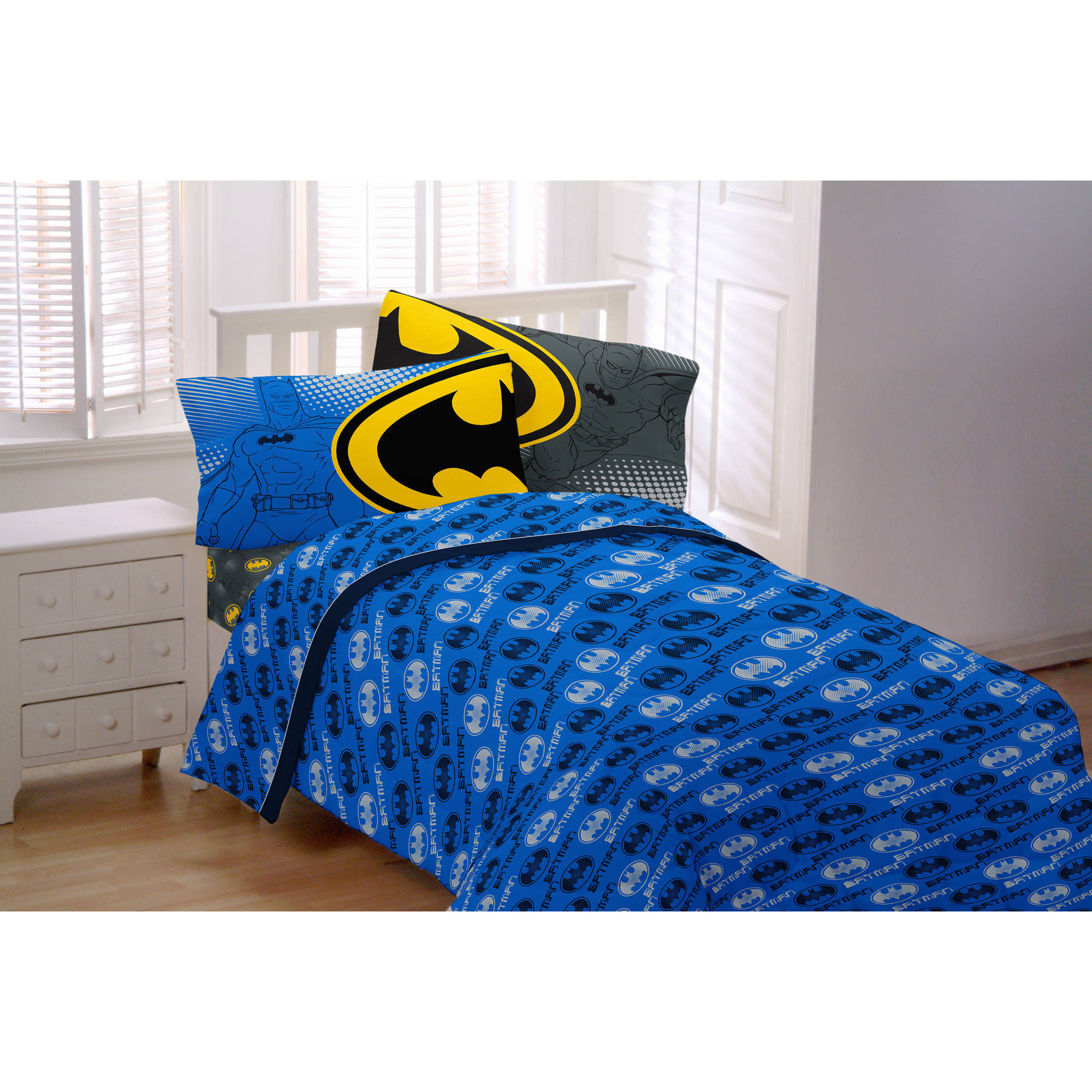 Batman Glowing Bat Symbol Twin Bedding Sheet Set   Walmart.com