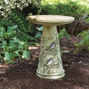 Burley Clay Hand Painted Chickadee Ceramic Bird Bath
