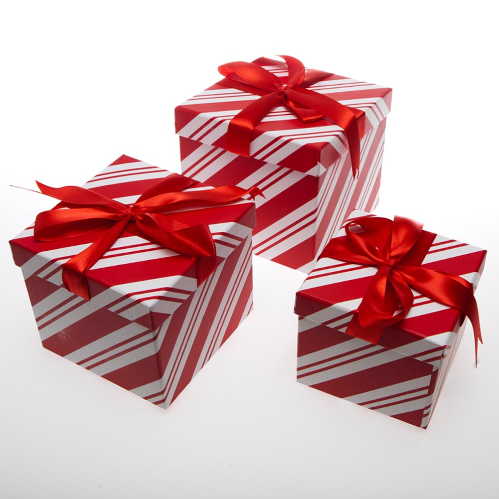 3 Piece Candy Cane Gift Boxes by It's In The Bag