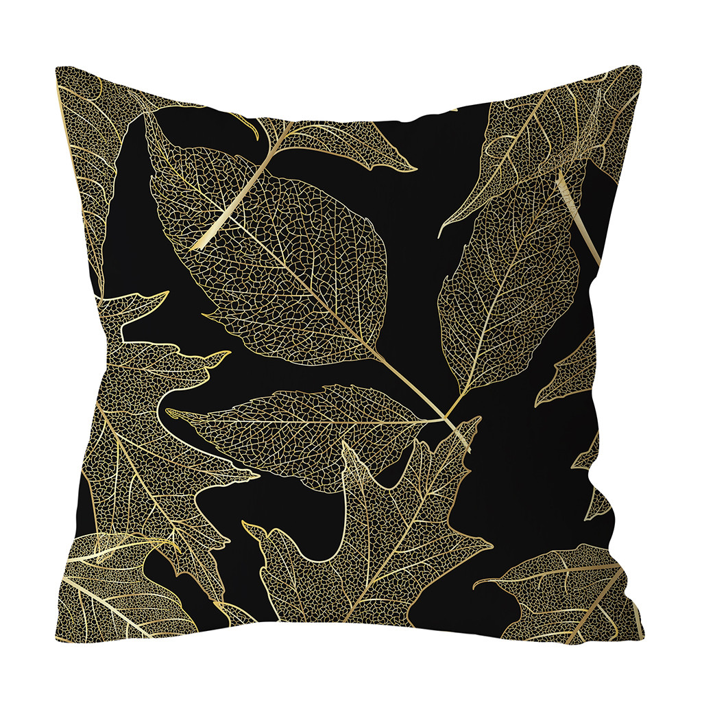 Home Gold Polyester Printed Pillow Sofa Cushion Cover Cover Plant Decor Case