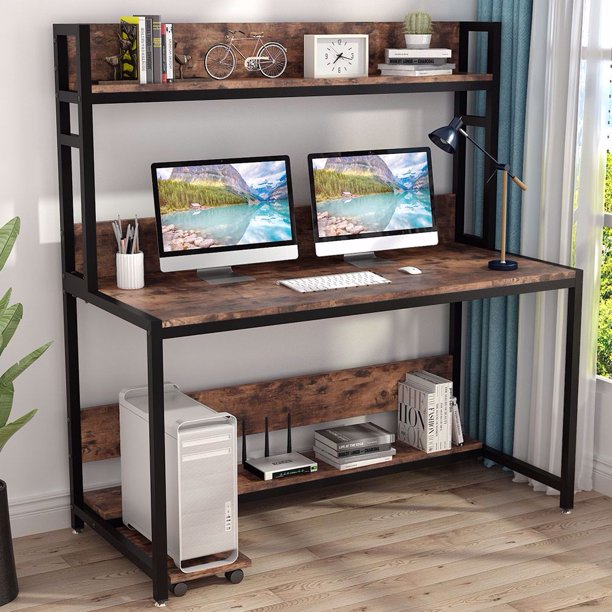 Tribesigns 55 Inches Large Computer Desk with Hutch, Modern Writing Desk with Bookshelf, PC Laptop Study Table Workstation for Home, Vintage + Black Legs