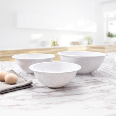 Mainstays Speckled Mixing Bowls Set, 3 Pack, White with Gold Silver -