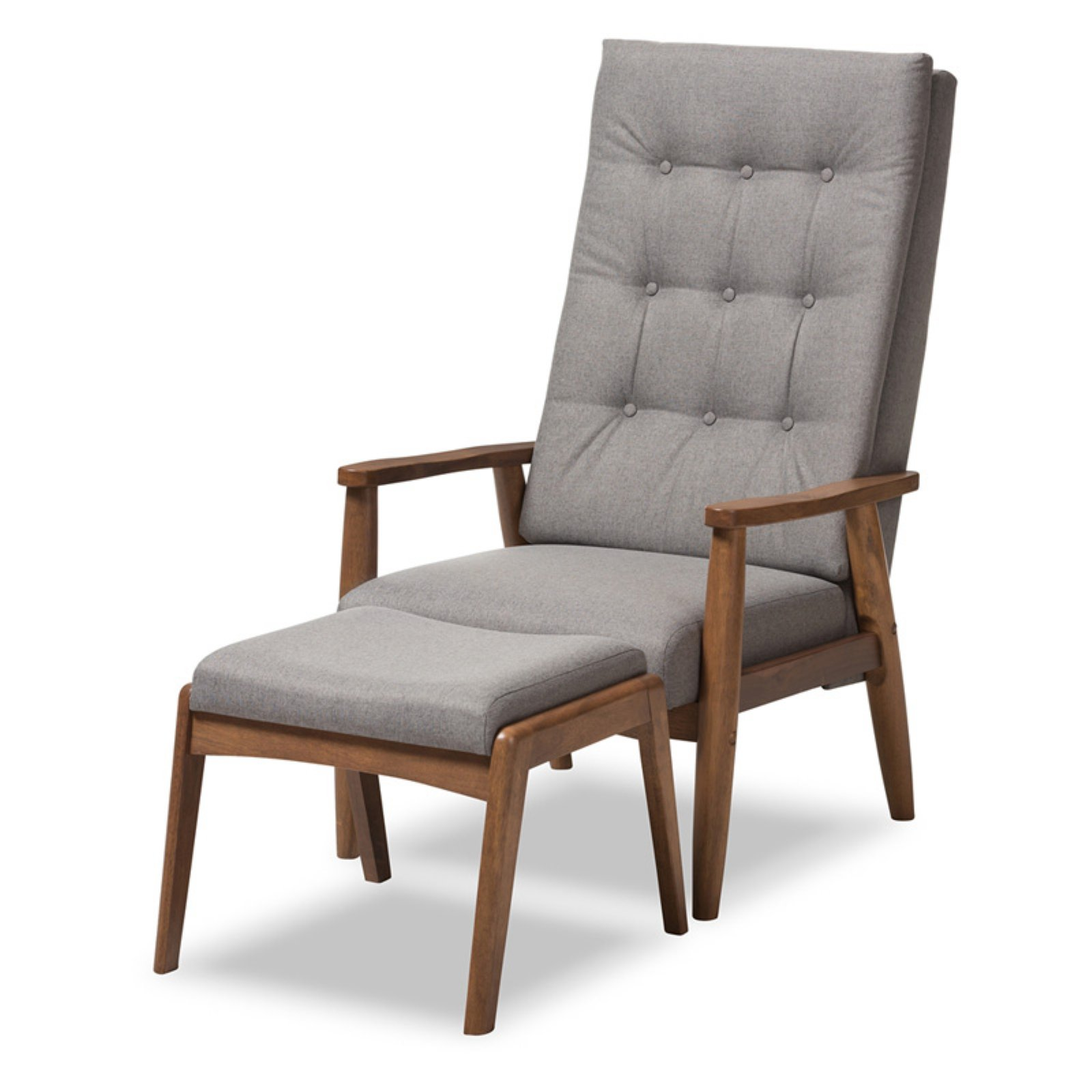 Baxton Studio Roxy Mid-Century Modern Walnut Wood Finishing and Grey Fabric Upholstered Button-Tufted High-Back Lounge Chair and Ottoman Set