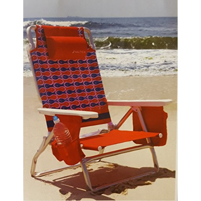 nautica reclining portable beach chair with insulated cooler, red fish 2 fish