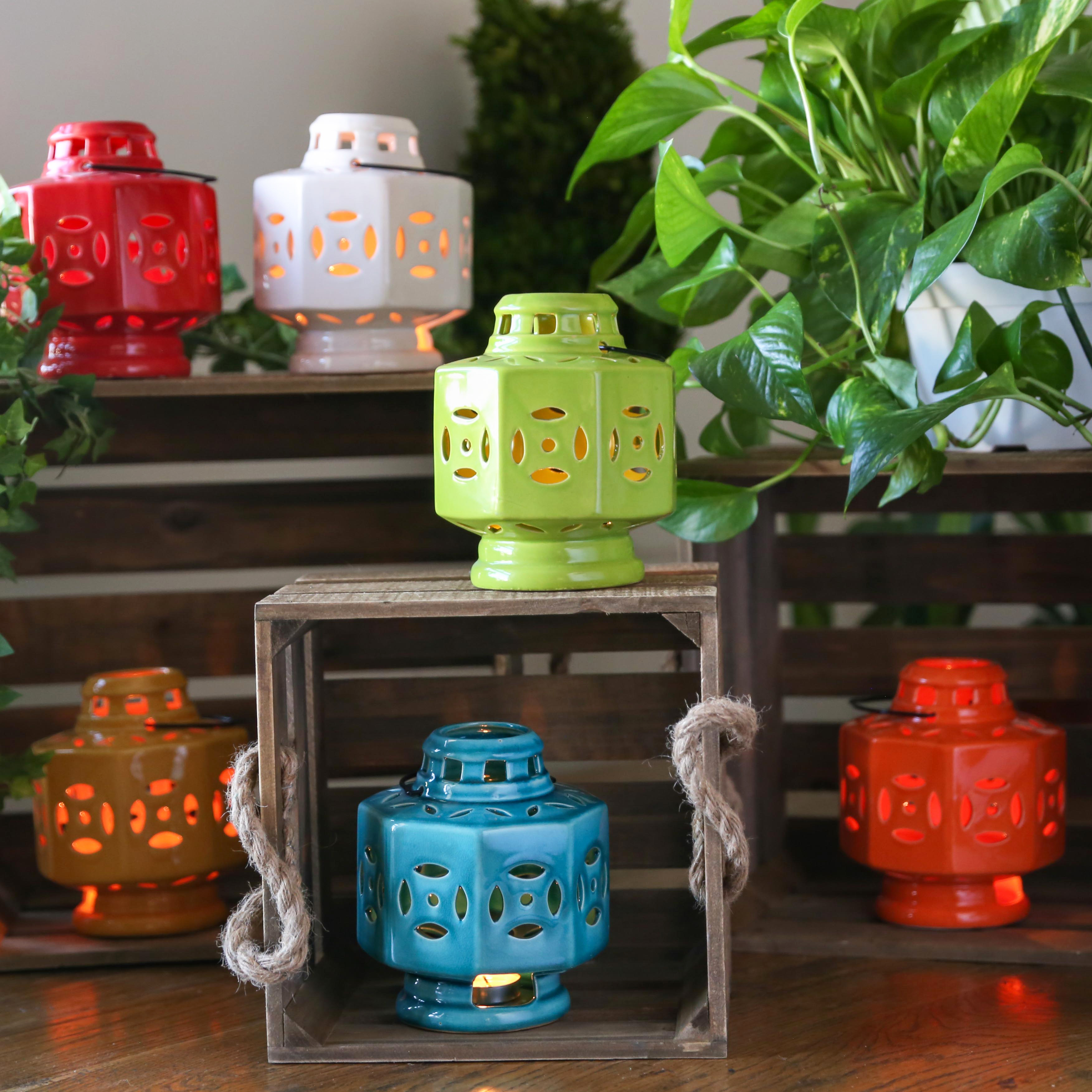 Urban Trends Collection: Ceramic Hand Lantern, Gloss Finish, White, Red, Orange, Yellow, Green, Turquoise